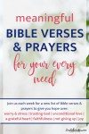 In this series, each week will give you 10 favorite meaningful Bible verses and prayer for your every need. The series will include verses and prayers for things like: worry and stress, trusting God, unconditional love, a grateful heart, faithfulness, not giving up, joy, courage, and insecurity. #bibleverses #prayer #wordofgod #meaningfulbibleverses #favoritebibleverses #joy #insecurity #worryandstress #trustinggod