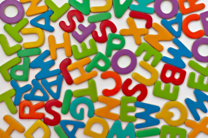 A colourful jumble of letters