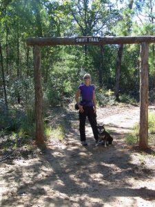 Kuma hikes the Swift Trail