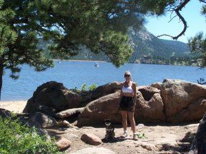 Kuma strolls Lake Estes