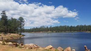 Kuma hikes around Woods Canyon Lake