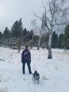 Kuma and his mom in the snow