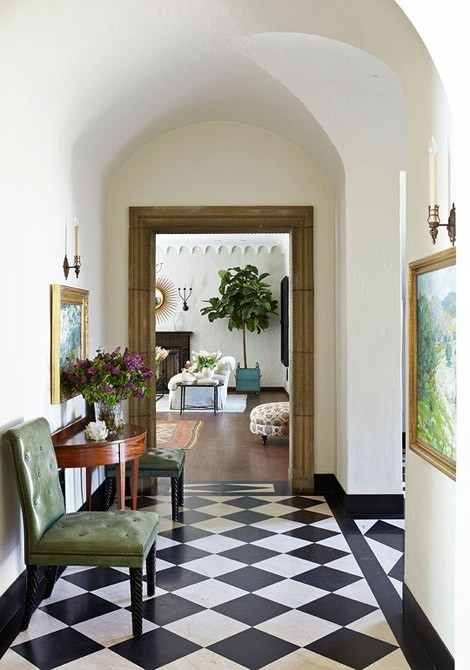 the black and white checkered floor