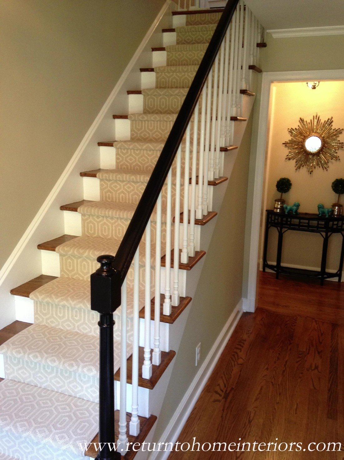 Choosing A Stair Runner Some Inspiration And Lessons Learned   Carpet On Wooden Stairs   Victorian   Combined Wood   Jute   Dark   Hall