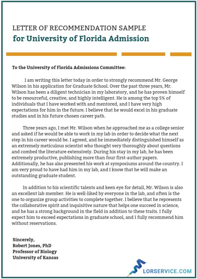 Recommendation For Graduate School