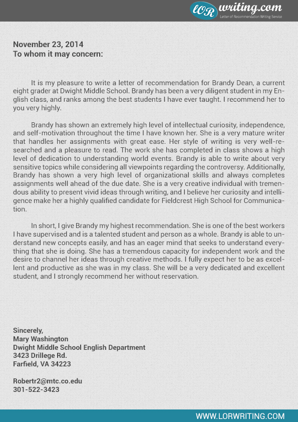 student recommendation letter sample for high school