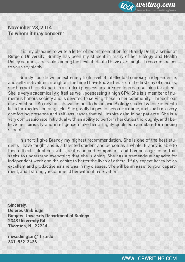 school recommendation letter sample template