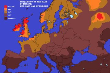 Mapa de los pelirrojos en Europa