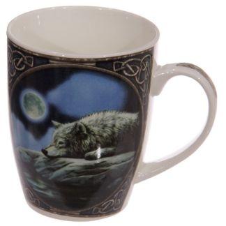 Taza lobo y reflejo de luna
