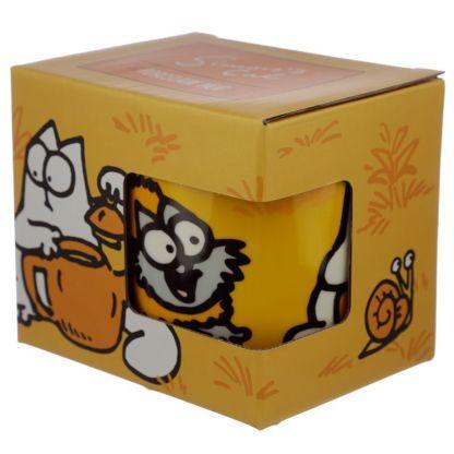 Taza Simon's Cat Naranja en caja