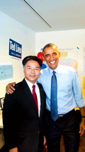 Congressional candidate Ted Lieu and President Obama on Thursday night in Venice.