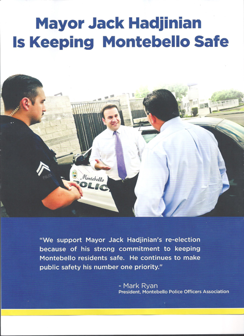 The Hadjinian campaign mailer, with the police officer and the patrol car in the picture, it is a violation of the Hatch Act.
