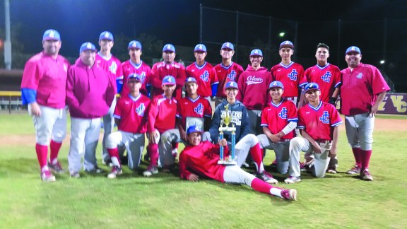 The John Glenn High baseball team poses with the championship trophy after winning the AA Division of the St. Paul Easter Tournament. The Eagles defeated Cerritos High 5-3.