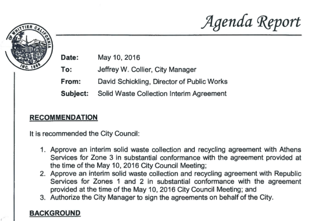 Part of the staff report recommending approval of the contract with Athens and Republic.