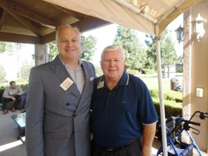 Chamber Executive Director Scott Smith and City Councilman Jim Edwards, enjoy the summer afternoon at Vintage Cerritos