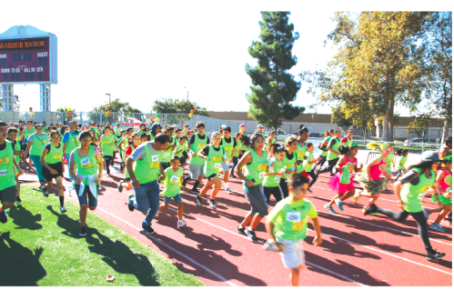 Students, parents and friends participate in the 3k Fun Run. The race was held at the Fedde Sports Complex. Photo courtesy City of Hawaiian Gardens.