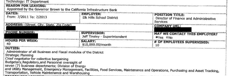 Document showing Elk Hills employment with Rojas claiming he was