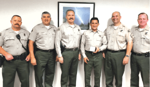 25 YEARS: From left to right Sgt. Salles, Lt. Hernandez, Captain Nuñez, Deputy Atabaki who celebrated 25 years,  Sgt. Racowschi and Lt. Wells. Photo from Cerritos Sheriff's FB.