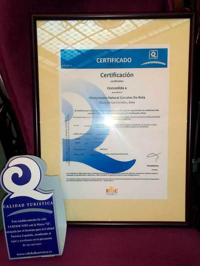 """Certificación """"Q"""" de Calidad Turística a Los Corrales de Rota"""