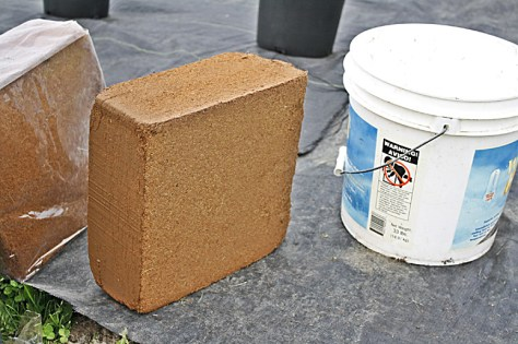 Coconut fiber block- dried and compressed
