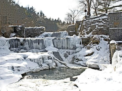 Snow, Ice  and water define the double falls alongside the Seneca Mills ruins.