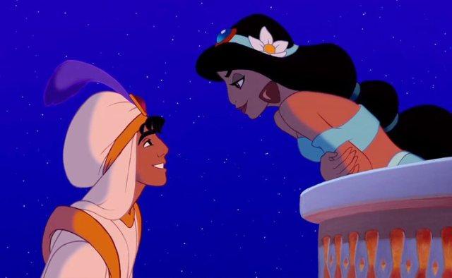 Aladdin y Jasmine se enamoran a primera vista