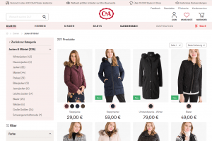 C-und-A Online-Shop Screenshot