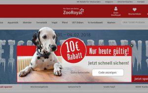ZooRoyal Gutscheinangebot auf Startseite