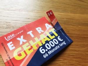 Extra Gehalt Brieflos von Lotto Bayern - aufgerissen