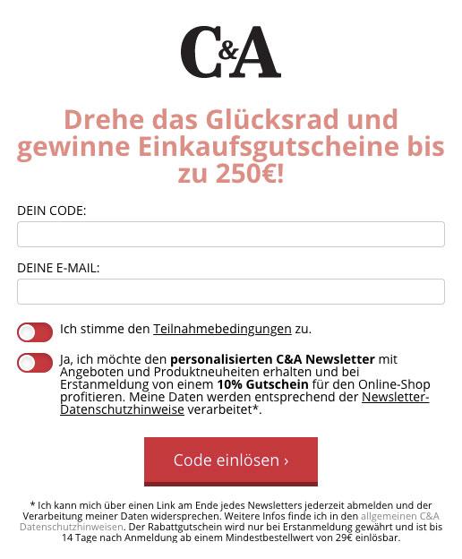 C&A Drehen & Gewinnen Codeeingabe
