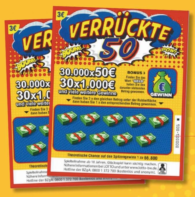 Verrückte 50 Rubbellos von Lotto BW
