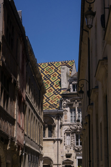Patterned roof of building in Dijon France | Lost Not Found | French Road Trip