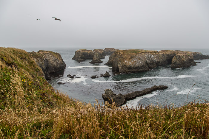View of Pacific Ocean and Rock Structures at Mendocino Headlands State Park CA | LOST NOT FOUND | Mendocino CA Camping Weekend