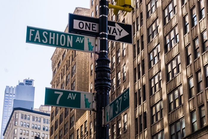 """7th Ave """"Fashion Ave"""" Sign in NYC 