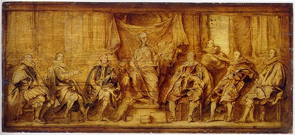 Van Dyck - De regenten van Brussel - 26x58cm Olieverf op paneel, Ecole Nationale Supérieure des Beaux-Arts, Parijs