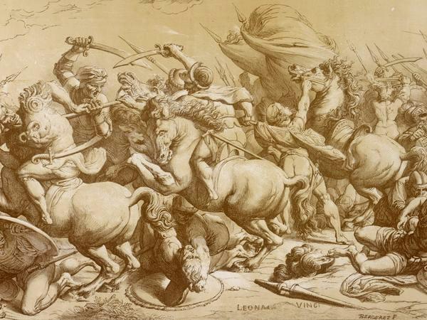 Bergeret - Lithografie (omstreeks 1800) naar Andrea Commodi's Kopie (omstreeks 1504) naar de 'Slag bij Anghiari' van Leonardo da Vinci.  Zoals uit deze kopie blijkt was de oorspronkelijke opzet uitgebreider dan het beeld dat we gewoonlijk zien van Leonardo's verloren werk. Zoals bijvoorbeeld de tekening die Rubens uitbreidde en aanpastte. Vreemd eigenlijk dat dit zo onbekend is aangezien het een completer beeld geeft van Leonardo's bedoelingen.
