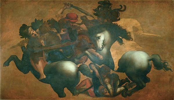 Anoniem - Kopie naar Leonardo da Vinci, Slag bij Anghiari - 1503-1505, Uffizi museum, Florence Hoewel de tekening, bijgewerkt door Rubens op zich het sterkste beeld  geeft, zit deze kopie stilistisch dichter bij da Vinci's manier van werken, als je deze vergelijkt met zijn andere werk en zijn eigen uitspraken in zijn notities.