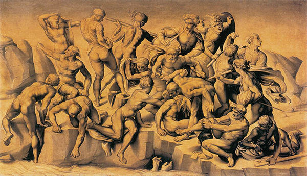 Aristotele da Sangallo - Kopie naar Michelangelo's Slag bij Cascina – 77x130cm Olieverf op hout, ca. 1542,   Holkham Hall, Norfolk