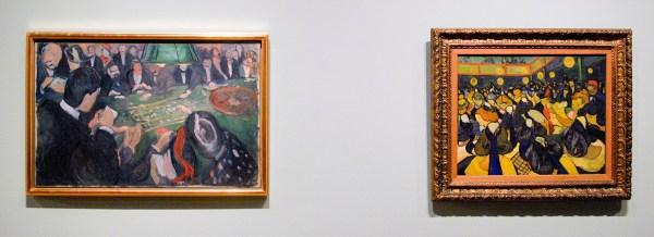 Edvard Munch - Aan de roulettetafel in Monte Carlo - Olieverf op doek, 1892 & Vincent van Gogh - De Danszaal in Arles - Olieverf op doek, 1888