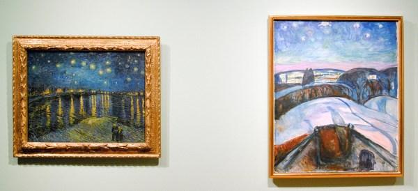 Vincent van Gogh - Sterrennacht boven de Rhone - Olieverf op doek, 1888 & Edvard Munch - Sterrennacht - Olieverf op doek, 1922-1924
