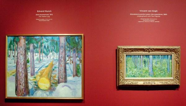 Edvard Munch - Gele Boomstronk - Olieverf op doek, 1912 & Vincent van Gogh - Wandelend paartje tussen rijen populieren - Olieverf op doek, 1890