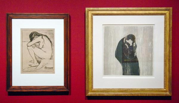Vincent van Gogh - Sorrow - Lithografie, 1896 & Edvard Munch - De Kus IV - Houtsnede, 1902