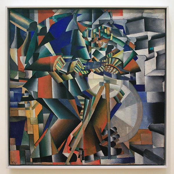 Kazimir Malevich - De Messenslijper (principe van het schitteren) - Olieverf op doek 1913