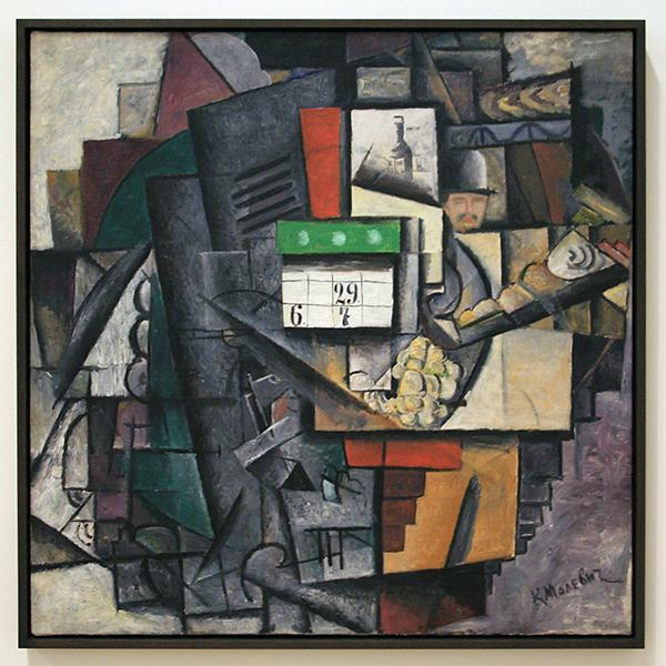 Kazimir Malevich - Vour bij de tramhalte - Olieverf op canvas 1913