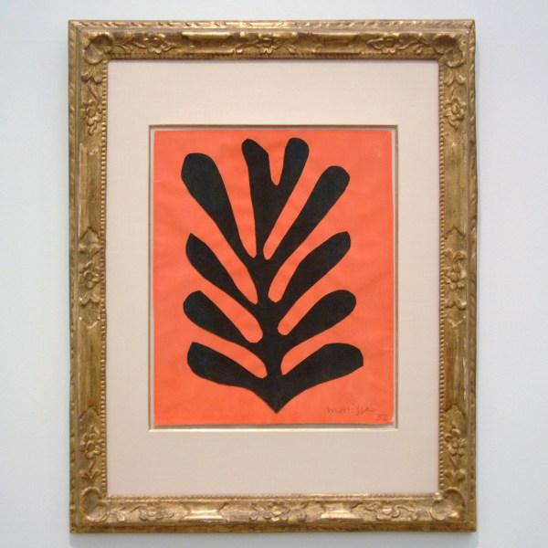 Henri Matisse - Zwart blade op rode achtregrond - Gouache op papier, opgeplakt op papier, 1952