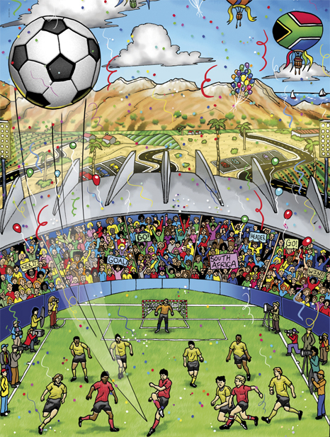 The World Watches ... World Cup South Africa - Charles Fazzino