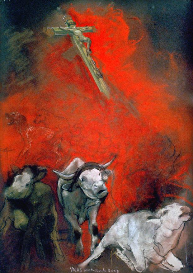 La Vacas - Pastel 30x23inch