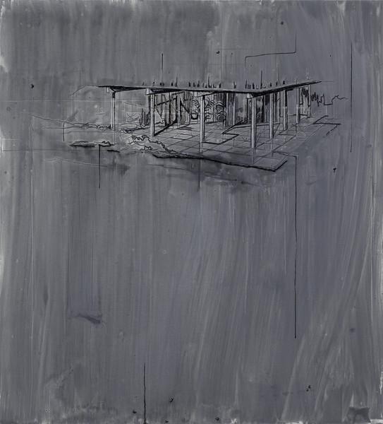 Open  - Acryl en draad 210x190cm