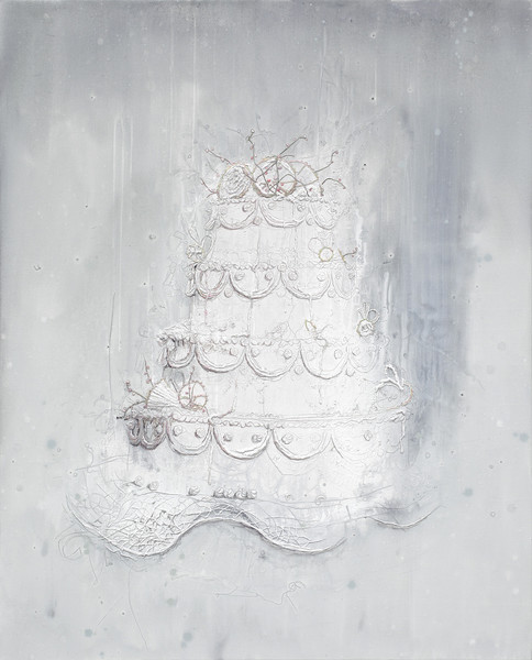 Present - Acryl en draad 144x116cm