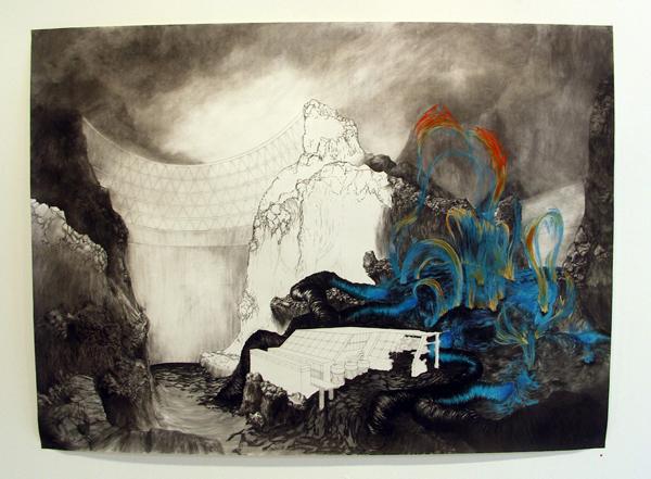 Dennis Amatdjais - Untiteld I - 206x150cm Houtskool pastel en potlood